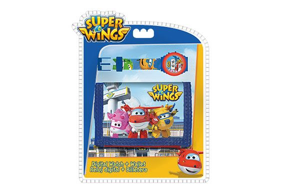 Set Reloj Digital KE02 con Billetera Super Wings